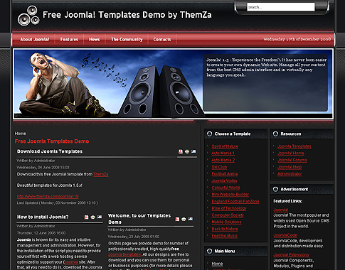 free templates blog » joomla 1.5.x » feel the music with the, Powerpoint templates