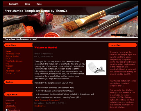 Free templates blog mambo art workshop the mambo for Best art websites for artists