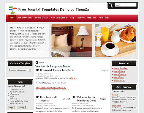 Free templates blog joomla 1 5 x hospitality industry for Joomla hotel template