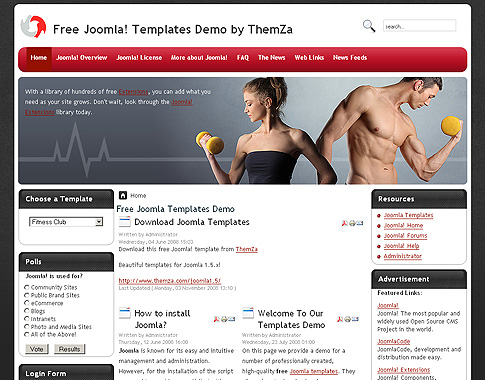 Fitness mania joomla 1 5 template released for your fitness
